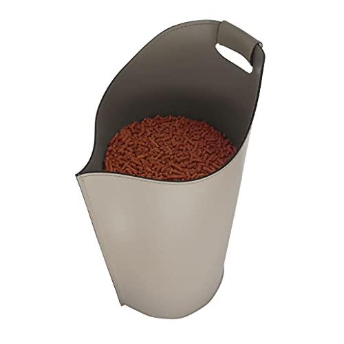 SAPEL: Porte pellet, granulés, en cuir couleur Tourterelle.