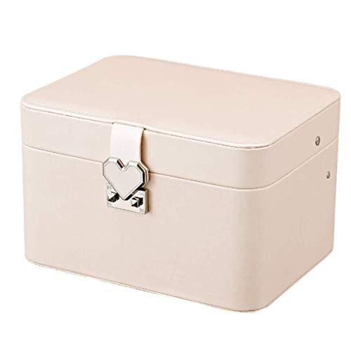 ZHENAO Caja de joyería enorme de cuero sintético espejo organizador de reloj collar anillo pendiente almacenamiento caja de regalo con cerradura