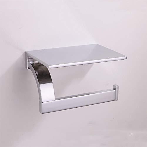 Portarrollos de papel Cromo del papel higiénico del soporte de pared antigua de cobre amarillo montado en Percha Negro WC Completo rodillo del tejido del estante con el sostenedor del teléfono de la v