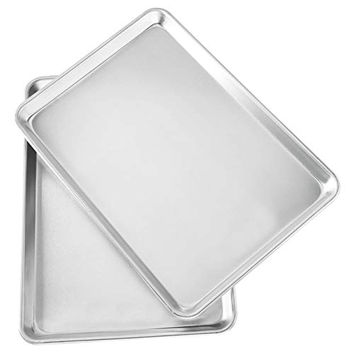 Bandeja rectangular de aluminio para hornear, pastel bandeja de bandeja de galletas bandeja para hornear, bandeja de hornear (paquete de 2), plata (Color : Silver)