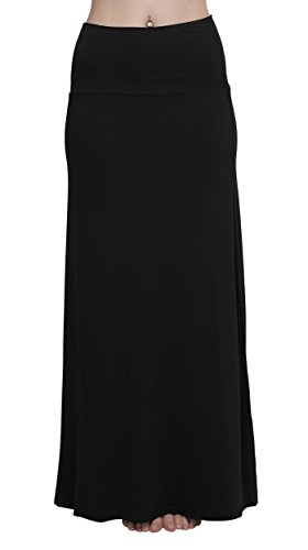 Urban GoCo Women's Stylish Comfy Fold-Over Long Maxi Skirt, Black , M steampunk buy now online