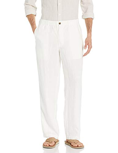 Amazon Brand - 28 Palms Men's Relaxed-Fit Linen Pant with Drawstring, Cream, Medium/30