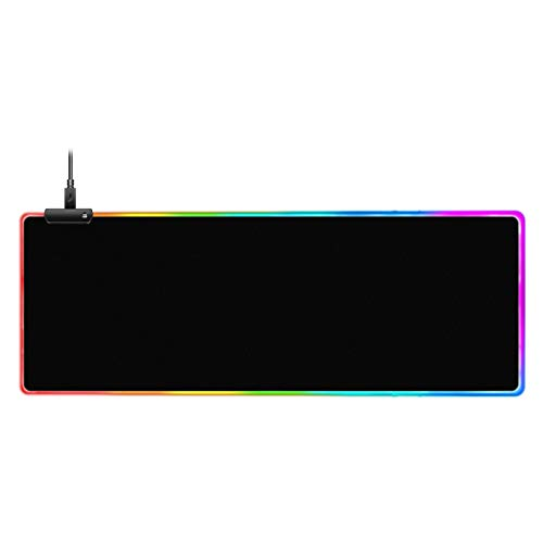 RGB Gaming Mouse Pad Mat,LED Illuminated Mouse pad Led Illuminated Extended Mousepad with Non-Slip Rubber Base Soft Computer Keyboard Mice Mat 7 Colors and 9 Dynamic Effects for Mac PC Laptop Desktop