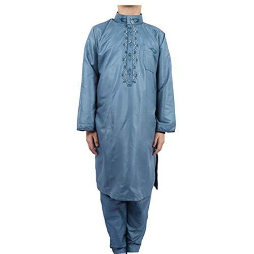 JXSM Albornoz de estilo musulmán, bata de dos piezas para niños paquistaníes (color: azul, tamaño: 44#)