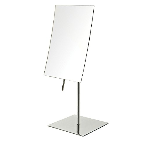 Jerdon JP358C 5Inch by 8Inch Rectangular Vanity Mirror with 3x Magnification 8 in, Stainless Steel Finish, 1 Count
