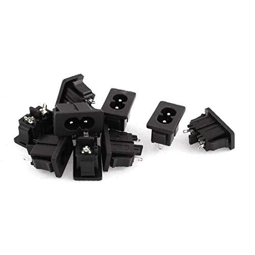 New Lon0167 AC 250V Destacados 5A 2P Entrada eficacia confiable IEC 320 C8 Conector macho de toma de corriente 10 pcs(id:cdc 9e 6d 836)