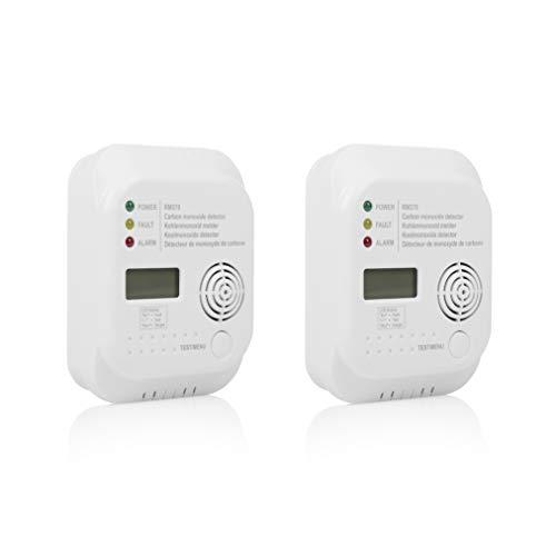 Smartwares 10.100.77 (RM370) Allarme monossido di Carbonio RM370/2 – Sensore 7 Anni – Batteria con Durata 1 Anno Inclusa – Display – Confezione da Due, 4.5 V, 2 pezzi