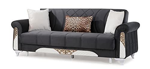 Sofá cama Bergama clásico de tres plazas clic clac con contenedor de almacenamiento, microfibra negra, ideal para hall hoteles y zonas de salón.