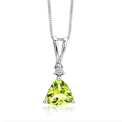 Miore Schmuck Damen 0.02 Ct Diamant Halskette mit Anhänger Edelstein Peridot und Solitär Brillant elegante Kette aus Weißgold 9 Karat / 375 Gold