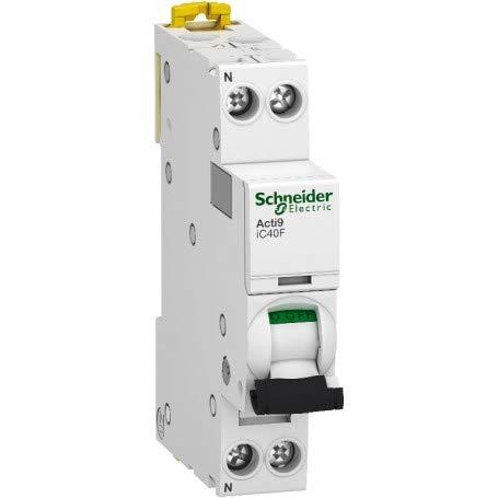Interruptor automatico en miniatura Acti9 IC40F, 1P + N, 16A, capacidad de corte 6000 A (IEC 60898-1), 6 kA (IEC 60947-2), curva C, 7,4 x 1,8 x 8,5 centímetros, color blanco (referencia: A9P53616)