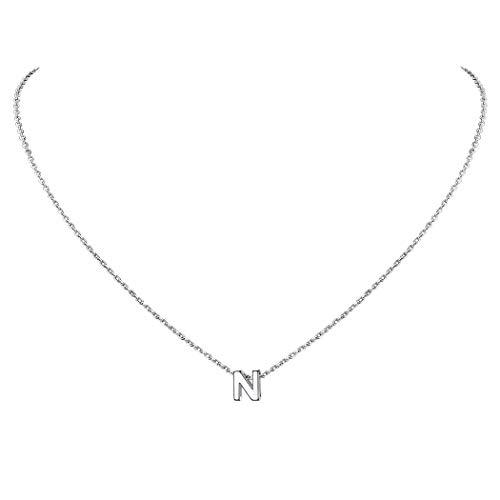 Suplight Collar de Letras Iniciales N Colgante Plata de Ley 925 Chapado en Oro Blanco Joyerías Delicadas para Mujer Chica Collares Modernos