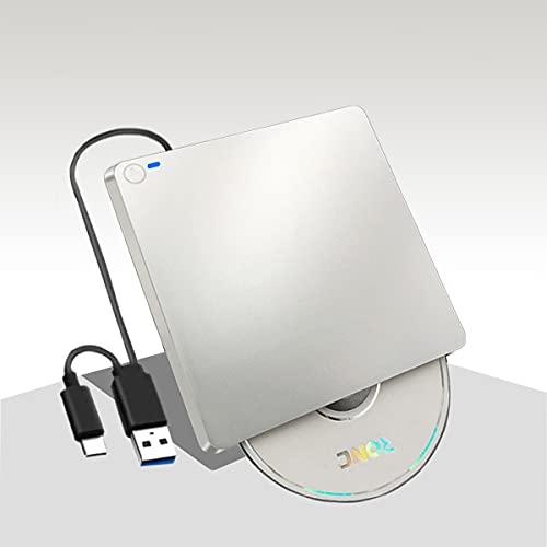 【2021新型】DVDドライブ 外付け USB3.0 タッチ吸入式 DVD/CD/VCD 読取&書込 USB A & Type-C兼用 LEDライト付き Mac/ Window/Linux/Vista等対応 高速 薄型 CDドライブ(シルバー)