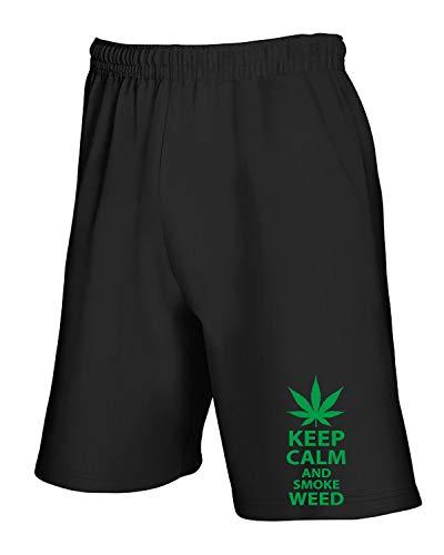 Jogginghose Shorts Schwarz FUN2252 Keep Calm Smoke Weed