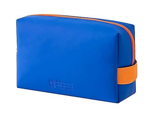 LEUCHTBOX Kleine Kosmetiktasche wasserdichte Wash-Bag für Frauen Kulturtasche Make-Up Bag PU-Kunstleder Candy Bag Style Knallige Farben (Blau)