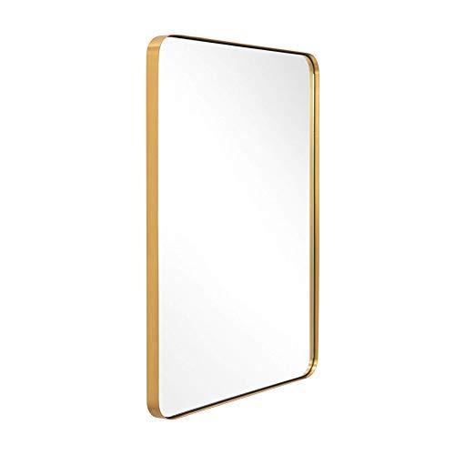 JIZI Espejo de Pared para baño, Espejo Moderno con Marco de Aluminio Dorado, Espejo Rectangular Negro, cuelga Horizontal o Vertical, para Sala de Entrada