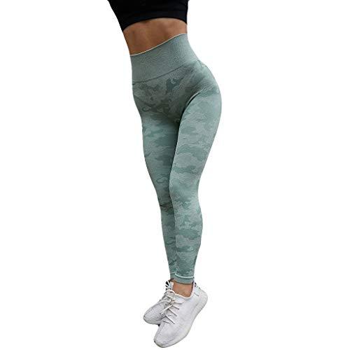 GenericBrands Taurner Pantalones de Yoga para Mujer Polainas de Yoga de Camuflaje Impresión Butt Lifter Leggings Fitness Transpirables Cintura Elástica Camo Yoga Pants (Verde, XS)