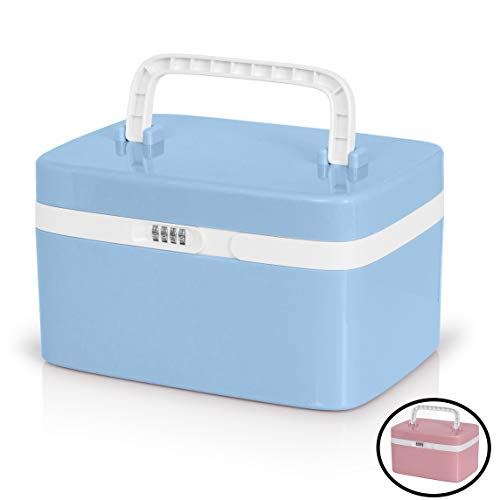 Medicine Lock Box for Safe Medication Storage - Childproof Prescription Bottle Organizer - Lockable Combination Chest (4 Digit Custom Code) Medicine Cabinet w/Separate Compartments | Storage Lockbox