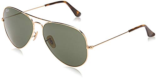 Ray-Ban RB3025 Classic Polarized Aviator Sunglasses, Gold/Dark Green, 55 mm