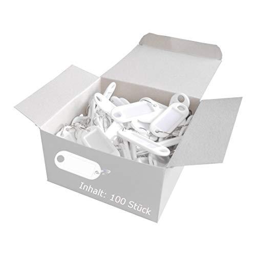 Wedo 262801800 Schlüsselanhänger Kunststoff (mit Ring, auswechselbare Etiketten) 100 Stück, weiß