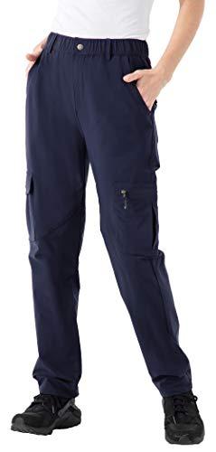 YSENTO Damen Wasserdicht Angelhose Outdoor Leichte Atmungsaktiv Schnelltrocknend Wander Arbeitshose mit Taschen(Marine,L)
