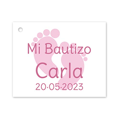 Etiqueta para detalle de Bautizo o Baby Shower. Pack 25 udes.