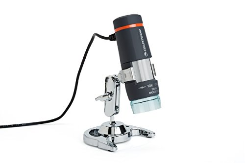 Celestron 44302 Deluxe Handheld Digital USB Microscope and Stand with Built in 2MP Camera for Capture of Video and Images, for viewing Stamps, Coins, Bugs and more