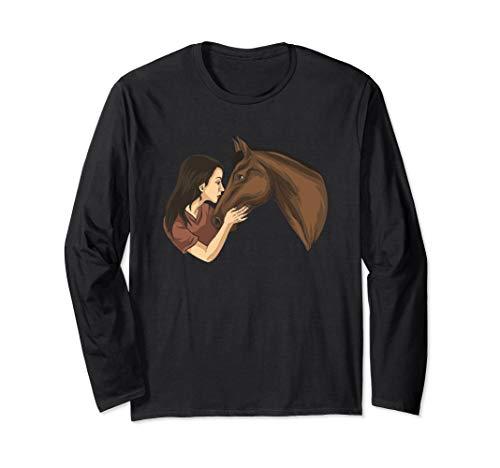 Mädchen küsst ein Pferd | Pferdeliebhaber Reiten Pferde Langarmshirt
