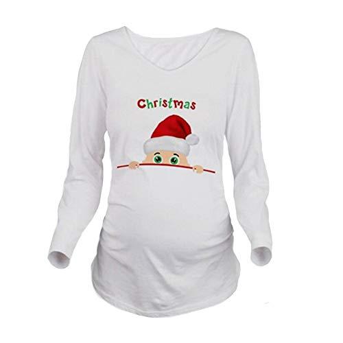 Q.KIM Camiseta Divertido Estampada de Manga Larga Premamá para Mujer Embarazo Lactancia T-Shirt-Christmas,Blanco M