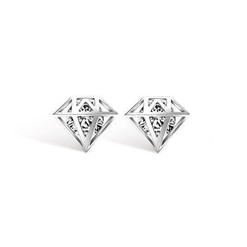 Emma joyas–Pendientes de mujer fijos a Lobo a forma de diamante pl. Plateado con cristales Swarovski Elements blancas–pack regalo