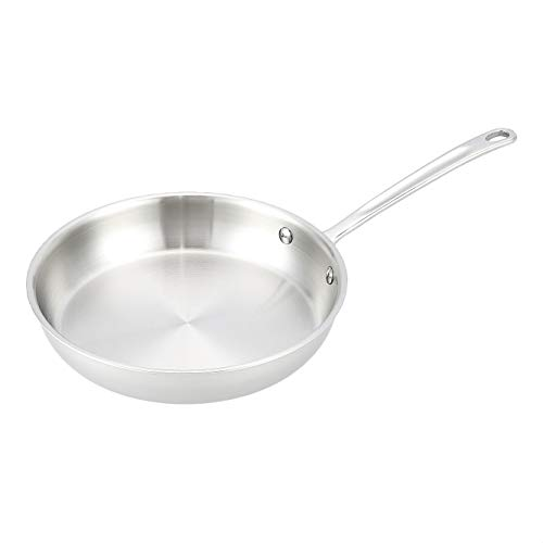 AmazonCommercial Tri-Ply Stainless Steel Fry Pan, 10 Inch