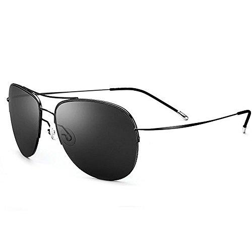 Ppy778 Gafas de Sol polarizadas Retro Vintage para Hombres Deporte al Aire Libre Metal metálico Ultraligero Lentes HD Lentes Gafas Air Force Unisex UV 400 Protección (Color : Black)