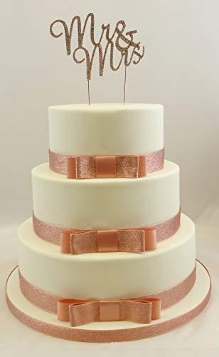Mr & Mrs Rose Gold Script Rhinestone Cake Topper met Rose Gold Glitter Lint Bruiloft Taart Lint 3 Bow Set Dubbel Satijn & Glitter Lint Taart Topper Set