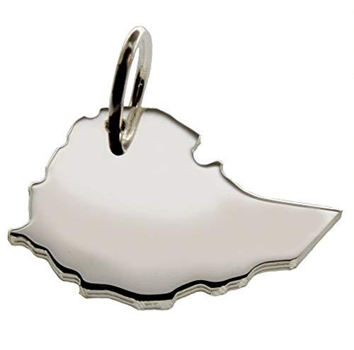 Anhänger Silber Landkarte ÄTHIOPIEN - 925 Sterling Silber Kettenanhänger massiv für Damen Herren