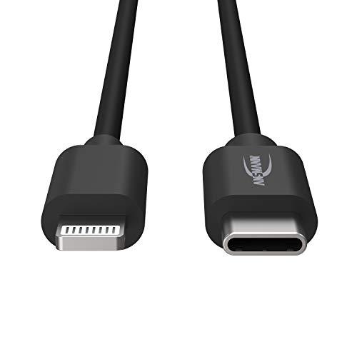 ANSMANN Cable de Carga y Datos USB-C/Lightning Longitud de 120 cm, Muy Robusto Gracias al plástico TPE sin PVC y a la Carcasa de Aluminio con Alivio de tensión Integrado