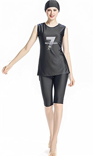 TianMai Muslimische Bademode Islamischen Sleeveless Badeanzug Hijab Muslim Swimwear Arab Beachwear Mädchen Burkini (NO.1, Int'l M)