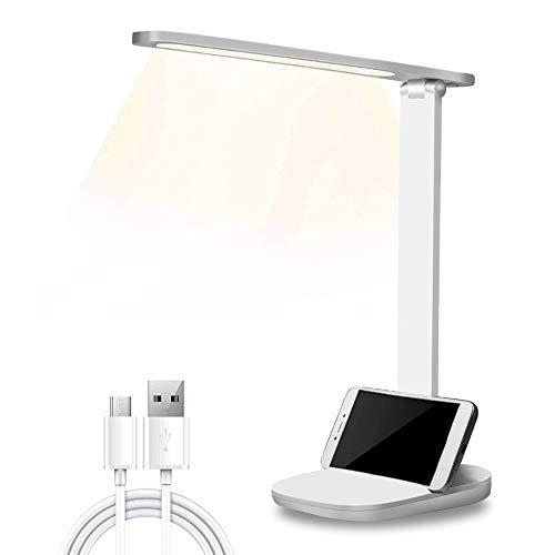 LED Schreibtischlampe,Dimmbare Schreibtischlampen mit USB-Ladeanschluss, Touchfeldbedienung Büro Tischleuchte, Tragbar, Augenschutz für Büro, Lesen, Studieren, Augenschutz Tischleuchte