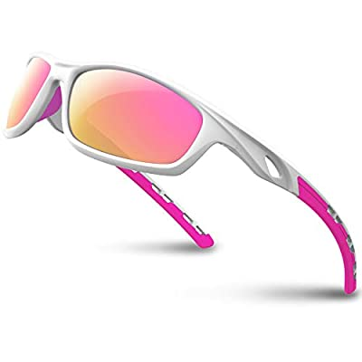 RIVBOS Polarized Sports Sunglasses for Women Men Driving Sun Glasses Shades Tr 90 Unbreakable Frame for Cycling Baseball Running Rb833 (White&Pink)