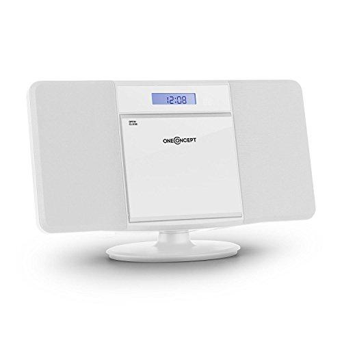 oneConcept V-13 Equipo estéreo - Minicadena , Reproductor de CD con MP3 , FM , USB con MP3 , AUX , Mando a Distancia , Pantalla LCD , Despertador , Autoapagado , Montaje en la Pared , Blanco