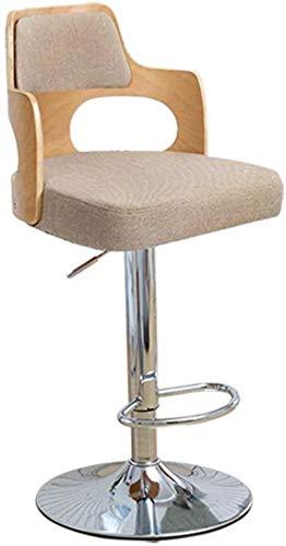 XXT Barstol bar från massivt trä rygg svängbar stol reception kassaapparat stol hög pall praktisk (färg: I)