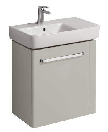 Geberit Meuble-lavabo Renova Nr. 1 Comprimo Nouveau, Porte-Serviettes Droit, 590x604x337mm Gris Clair Mat/Gris Clair Brillant Gris Clair - 862066000