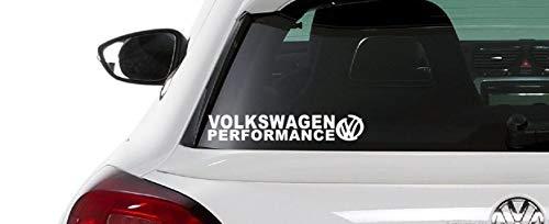 Performance Racing Aufkleber (2x 20cm) kompatibel mit Volkswagen VW Auto Heckscheibe Tuning / Plus Schlüsselringanhänger aus Kokosnuss-Schale / Golf GTI Beetle Polo Scirocco Passat Touareg Lupo