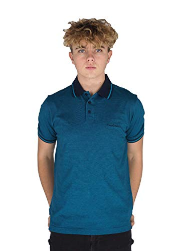 Pierre Cardin - Polo de rayas finas para hombre, con firma bordada Azul marino/verde azulado. XXL