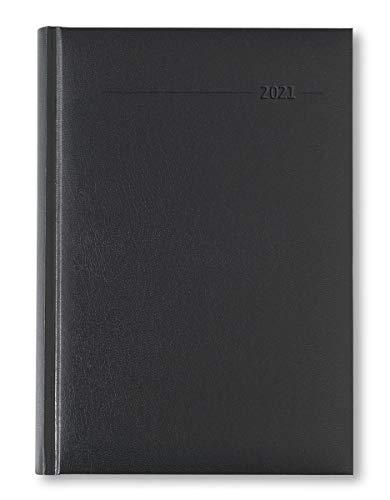 Buchkalender Balacron schwarz 2021 - Büro-Kalender A5 - Cheftimer - 1 Tag 1 Seite - 320 Seiten - Balacron-Einband - Alpha Edition