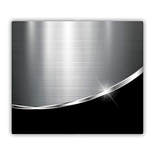 Tulup Tabla De Cortar Cocina 60x52cm - Vidrio Protector De Placa De Induccion - Imitación De Acero