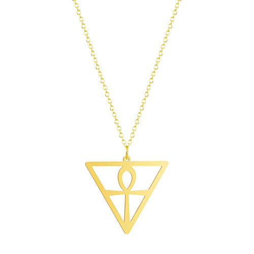Gbrand Collar Vintage para Mujer, triángulo geométrico, Acero Inoxidable, Hombres, joyería, Colgante, Collar-Gold_Color
