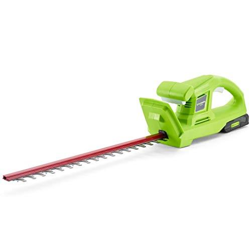 Greenworks Tools Taille-haie sans fil G24HTK2 (Li-Ion 24 V 47 cm longueur de coupe 17 mm espacement des dents 2800 coupes/min poignée en forme de T avec batterie et chargeur de 2Ah)