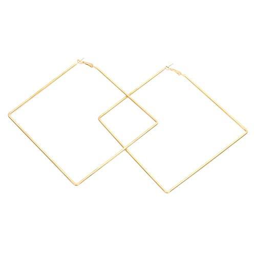 Simplicidad con Estilo Pendientes de Aro Accesorios de Joyería Rombo Redondo Geométrico Pendientes de Mujer Oro Plata Pendiente Divertido Joyería Moda Pendiente Grande, N-J, Color dorado