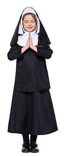 MOMBEBE COSLAND Bambina Suora Costume (Nero, M)