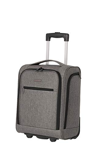 travelite 2-Rad Handgepäck Koffer mit Liquids Bag erfüllt IATA Bordgepäck Maß, Gepäck Serie CABIN Underseat: Kompakter Weichgepäck Trolley, 090225-04, 43 cm, 28 Liter, grau melange