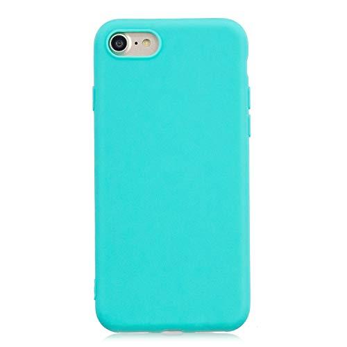cuzz Funda para iPhone 7/8+{Protector de Pantalla de Vidrio Templado} Carcasa Silicona Suave Gel Rasguño y Resistente Teléfono Móvil Cover-Azul Claro
